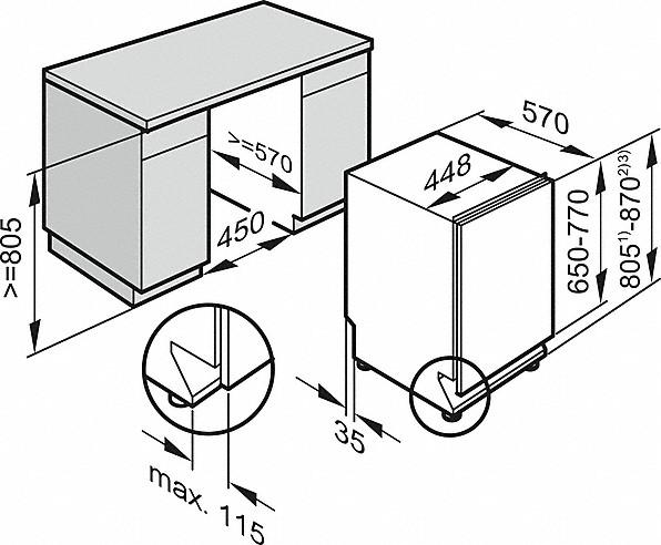 Einbauskizzen-Startvorwahl und Besteckschublade für höchsten Komfort.-