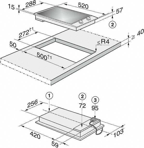 Einbauskizzen-mit 2 Kochzonen inkl. 1 Vario-Zone für flexible Nutzungen.-
