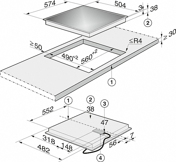 Einbauskizzen-mit 2 Vario-Kochzonen für flexible Nutzungen.-