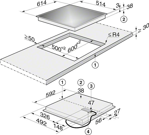 Einbauskizzen-mit 1 Koch-/Bräterzone und 1 Vario-Kochzone für flexibelste Nutzungen.-