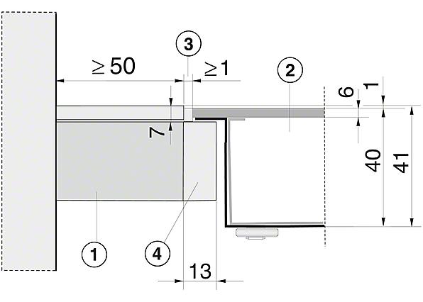 Einbauskizzen-in752 mm Breite für besonders komfortables Kochen.-