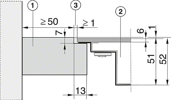 Einbauskizzen-mit PowerFlex-Kochbereich für maximale Flexibilität und Leistungsstärke.-