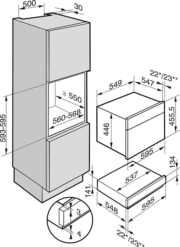 Einbauskizzen-mit der Anwendung Niedertemperaturgaren - so viel mehr als eine Wärmeschublade.-