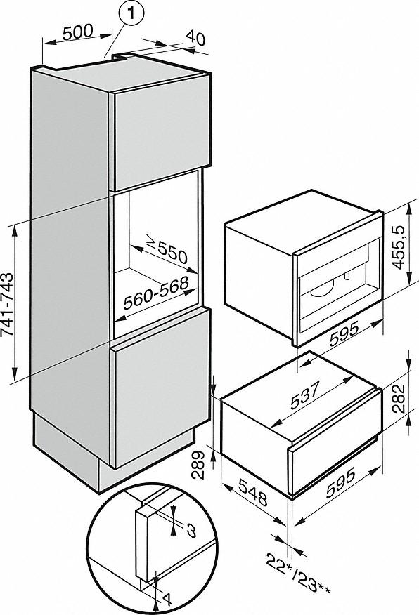 Einbauskizzen-mit Bohnensystem - der Miele Alleskönner für höchste Ansprüche.-