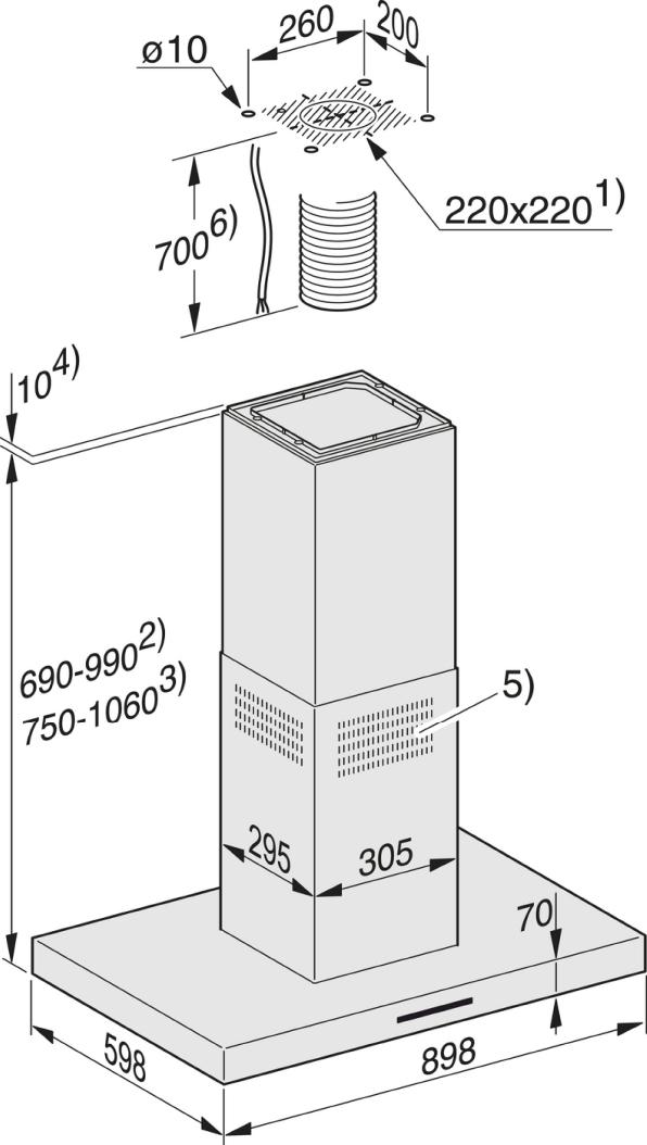 Einbauskizzen-zur Kombination mit einem externen Gebläse zur Geräuschreduzierung in der Küche.-