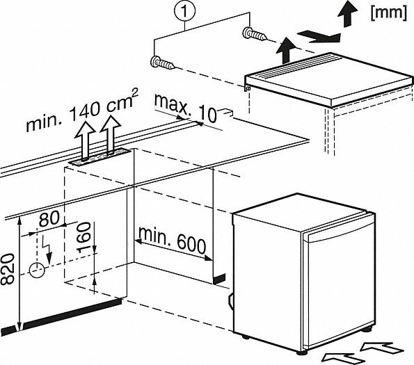 Einbauskizzen-mit Gefrierfach für praktisches Kühlen und Gefrieren auf kleinstem Raum.-
