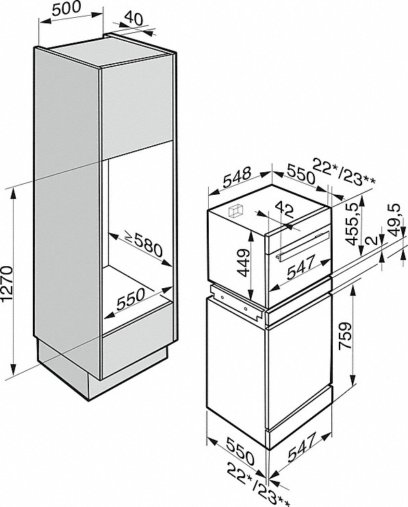 Einbauskizzen-- mit motorischer Liftblende und MultiSteam für anspruchsvolle Geniesser.-