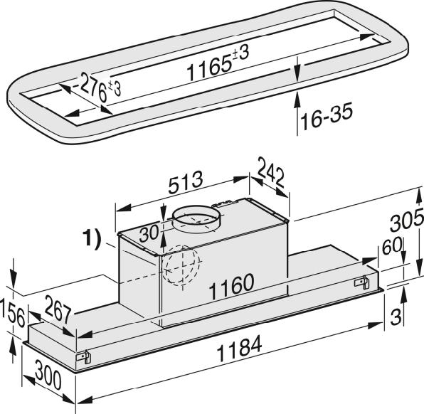Einbauskizzen-mit energiesparender LED-Beleuchtung und Tipptasten für komfortable Bedienung.-