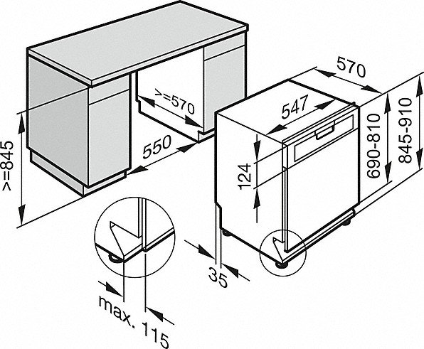 Einbauskizzen-mit Startvorwahl und Besteckschublade für höchsten Komfort.-
