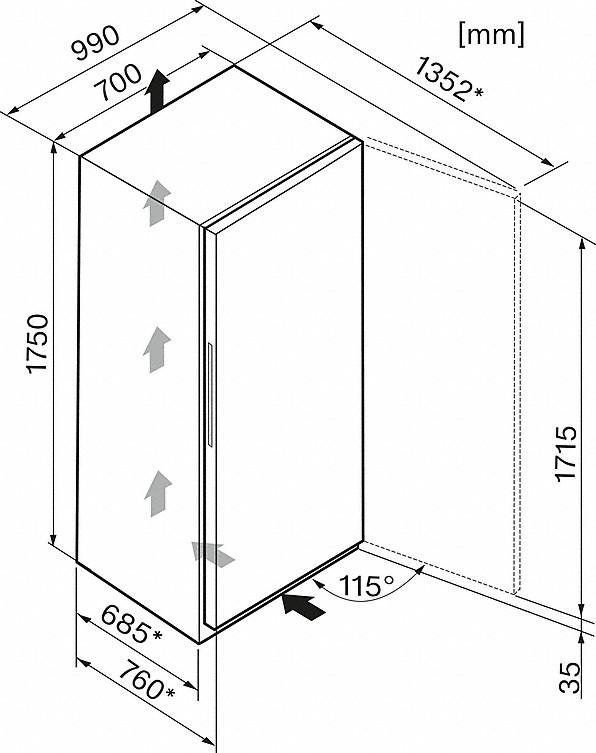 Einbauskizzen-mit grösstem Volumen und A+++-20% für viel Platz und höchste Energieeffizienz.-