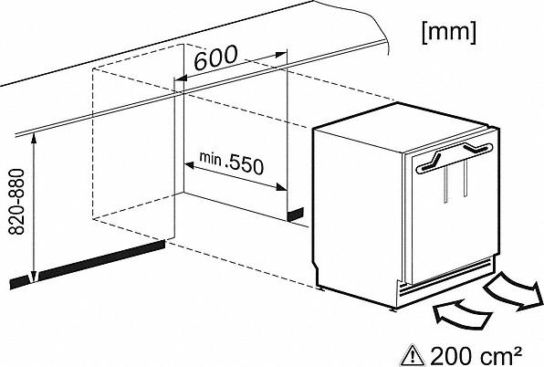 Einbauskizzen-mit praktischem Auszugswagen im kompakten Format.-