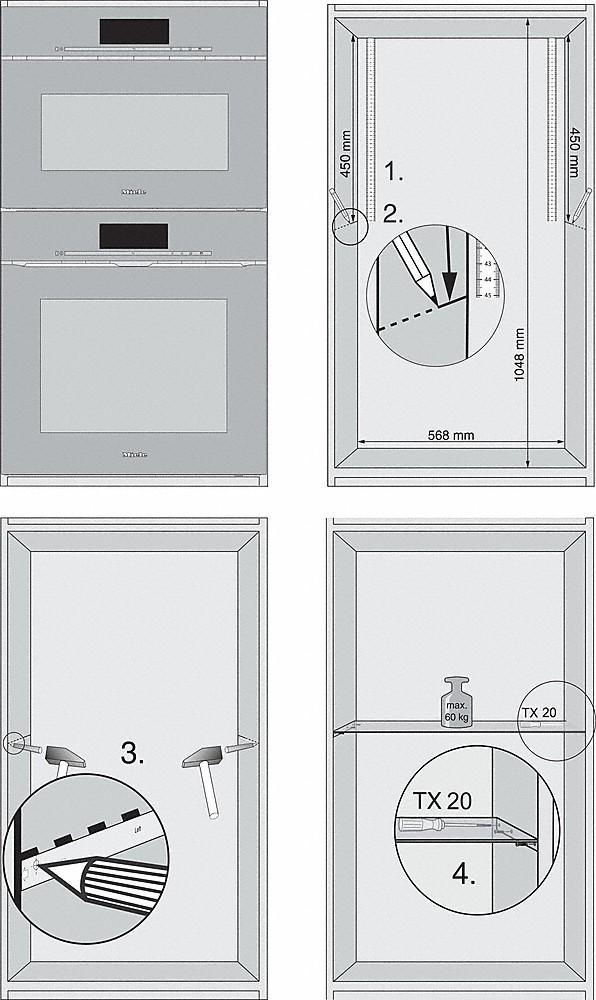 Einbauskizzen-für ein optimales Spaltmass zwischen Miele Einbaugeräten.-
